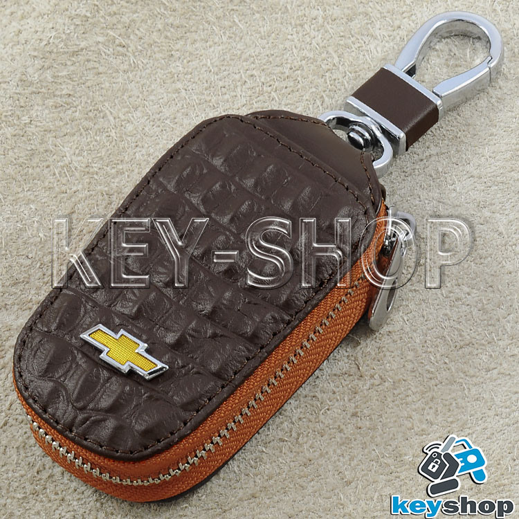 Ключниця кишенькова (шкіряна, коричнева, з тисненням, з карабіном) логотип авто Chevrolet (Шевроле)