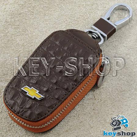 Ключниця кишенькова (шкіряна, коричнева, з тисненням, з карабіном) логотип авто Chevrolet (Шевроле), фото 2