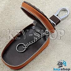 Ключниця кишенькова (шкіряна, коричнева, з тисненням, з карабіном) логотип авто Chevrolet (Шевроле), фото 3