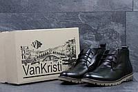 Ботинки мужские Vankristi  кожаные классические зимние на меху в черном цвете, ТОП-реплика, фото 1
