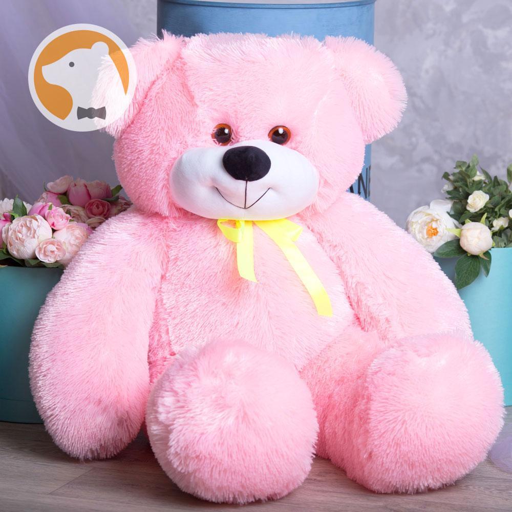 Плюшевый Мишутка большой сидячий, длина 120 см, розовый