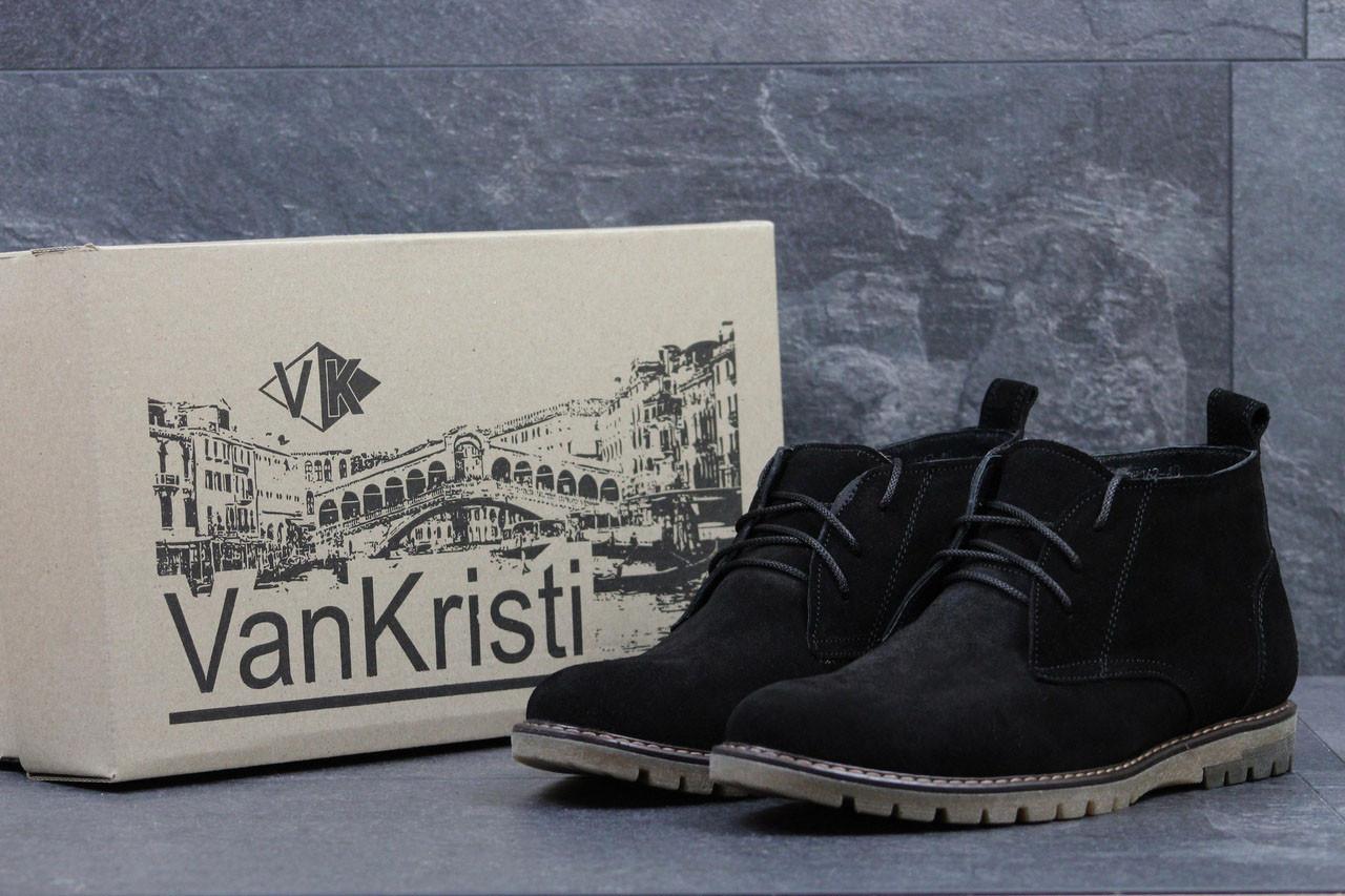 Ботинки мужские Vankristi замшевые классические стильные зимние на меху в черном цвете, ТОП-реплика