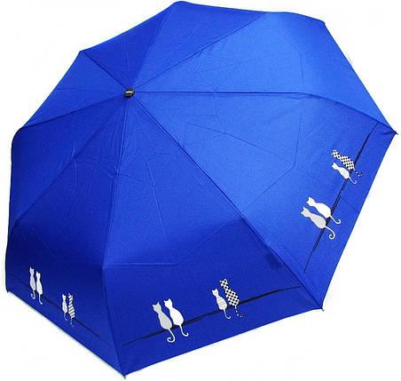 Зонт складной Doppler 7441465 C0502 Синий Коты. (Допплер) Антиветер. Автомат, фото 2