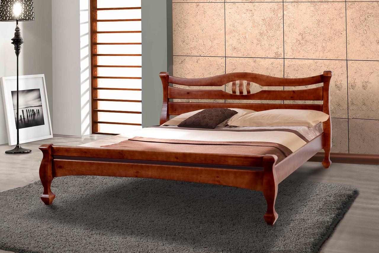 Кровать Динара 1,4 м орех темный двуспальная деревянная