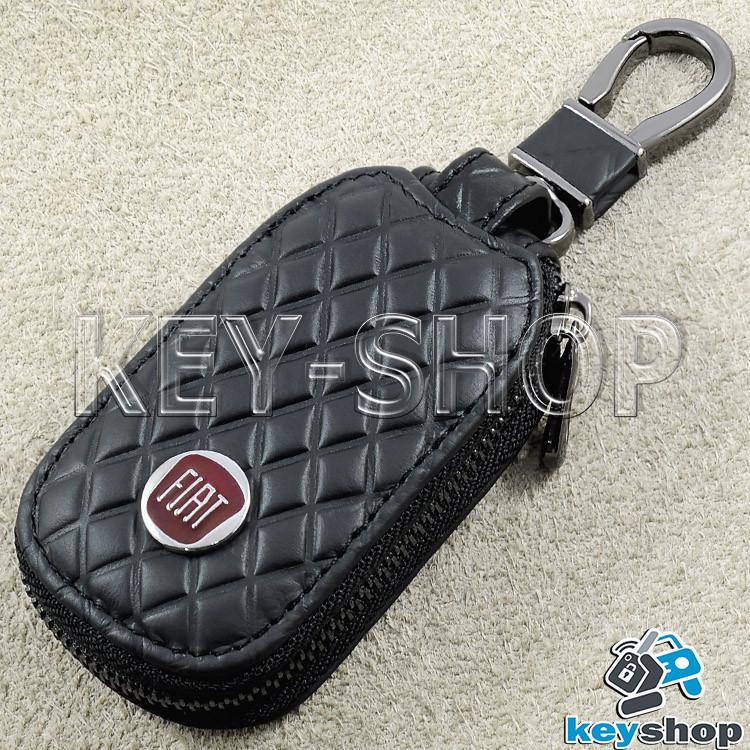 Ключниця кишенькова (шкіряна, чорна, з тисненням, на блискавці, з карабіном, кільцем) логотип авто Fiat (Фіат)