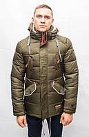 Мужская куртка зимняя парка пуховик молодежная длинная спортивная теплая