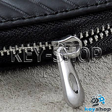 Ключница карманная (кожаная, черная, с тиснением, на молнии, с карабином) логотип авто Fiat (Фиат), фото 2
