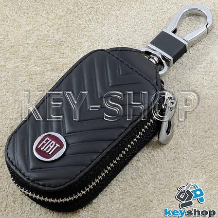 Ключниця кишенькова (шкіряна, чорна, з тисненням, на блискавці, з карабіном) логотип авто Fiat (Фіат), фото 2