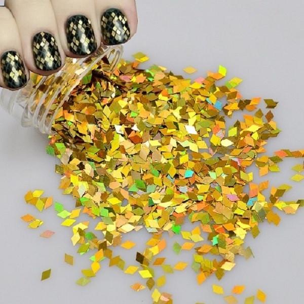 Ромбики для дизайна ногтей, золото голографик