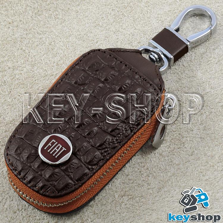 Ключница карманная (кожаная, коричневая, с тиснением, на молнии, с карабином) логотип авто Fiat (Фиат)