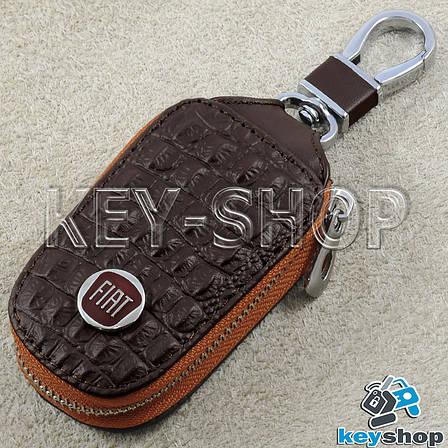 Ключница карманная (кожаная, коричневая, с тиснением, на молнии, с карабином) логотип авто Fiat (Фиат), фото 2
