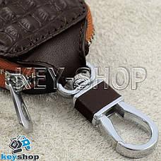 Ключница карманная (кожаная, коричневая, с тиснением, на молнии, с карабином) логотип авто Fiat (Фиат), фото 3