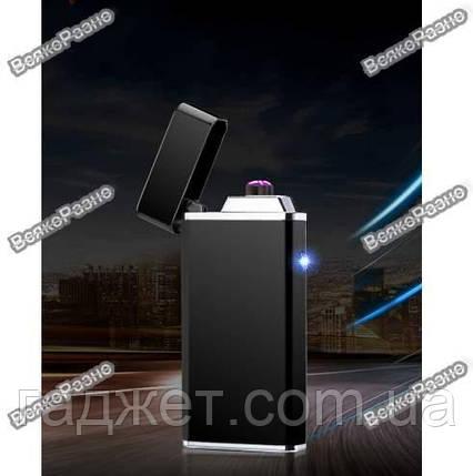 USB зажигалка черного цвета. Электронная USB зажигалка, фото 2