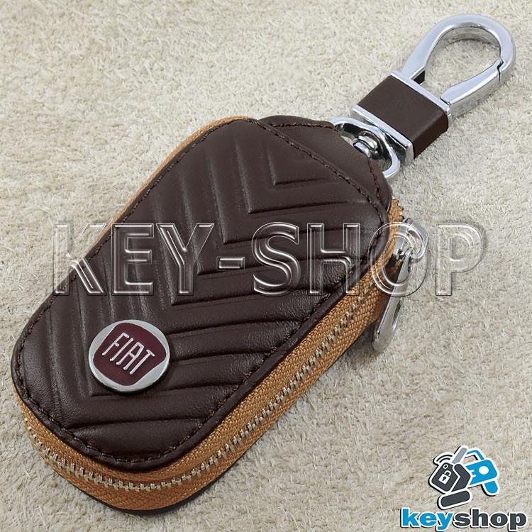 Ключниця кишенькова (шкіряна, коричнева, з тисненням, на блискавці, з карабіном) логотип авто Fiat (Фіат)