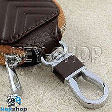 Ключниця кишенькова (шкіряна, коричнева, з тисненням, на блискавці, з карабіном) логотип авто Fiat (Фіат), фото 3