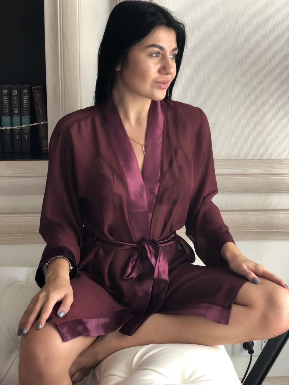 Прозрачный шифоновый халат вишневого цвета, с поясом