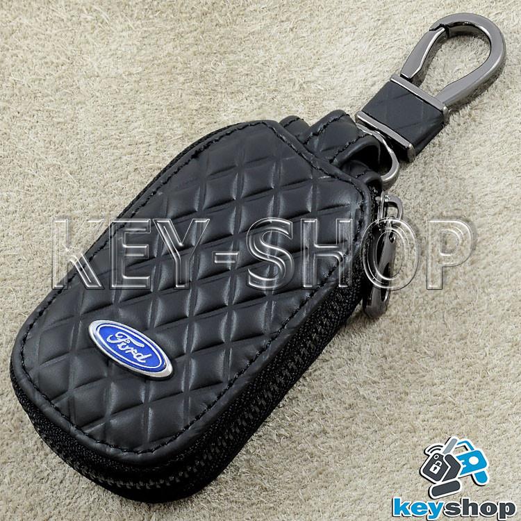 Ключница карманная (кожаная, черная, с тиснением, на молнии, с карабином, кольцом) логотип авто Ford (Форд)