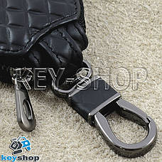 Ключниця кишенькова (шкіряна, чорна, з тисненням, на блискавці, з карабіном, кільцем) логотип авто Ford (Форд), фото 3
