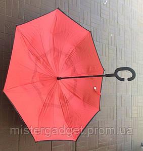 Зонт зворотного складання Up-Brella Вітрозахисний червоний парасолька