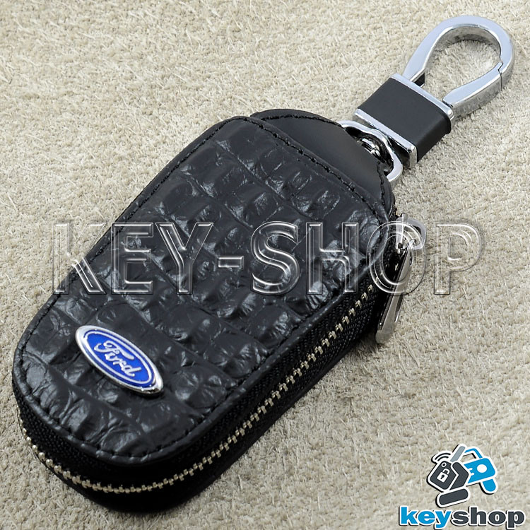 Ключниця кишенькова (шкіряна, чорна, з тисненням, на блискавці, з карабіном, кільцем) логотип авто Ford (Форд)