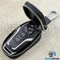 Ключниця кишенькова (шкіряна, чорна, з тисненням, на блискавці, з карабіном, кільцем) логотип авто Ford (Форд), фото 2