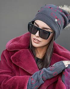 Женский вязаный комплект шапка + митенки пряжа софт темно-серого цвета