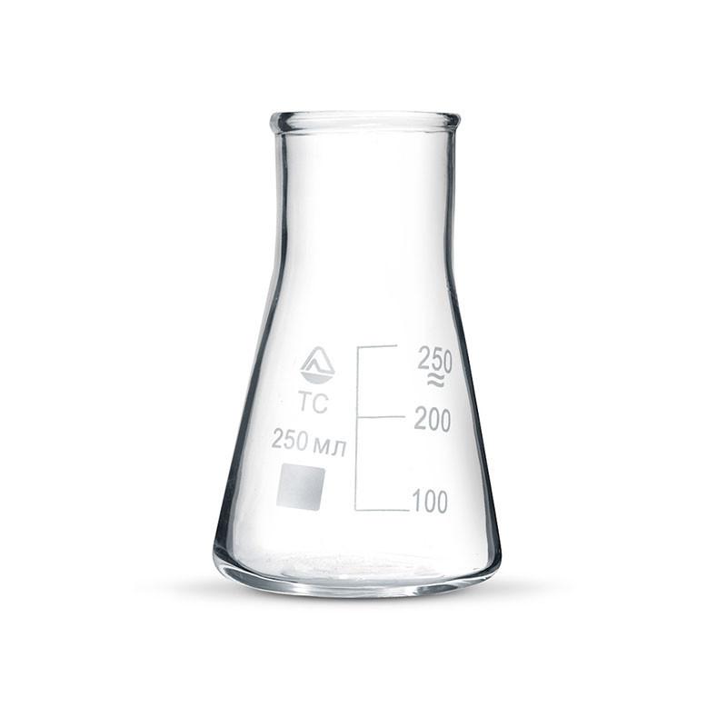 Колба лабораторная коническая 50 мл без шлифа широкое горло, стекло