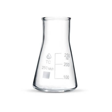 Колба лабораторная коническая 50 мл без шлифа широкое горло, стекло, фото 2
