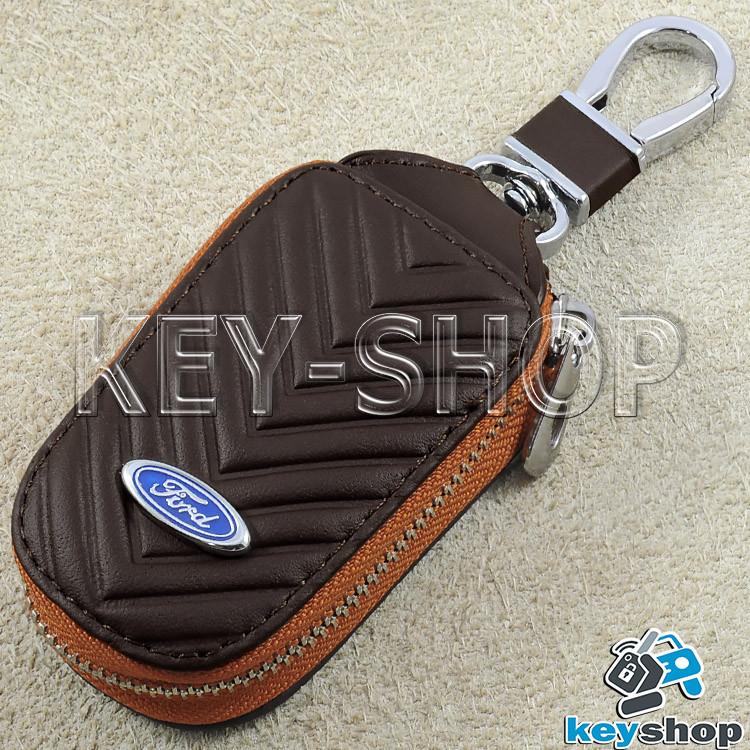 Ключниця кишенькова (шкіряна, кориневая, з тисненням, на блискавці, з карабіном) логотип авто Ford (Форд)