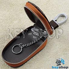 Ключниця кишенькова (шкіряна, кориневая, з тисненням, на блискавці, з карабіном) логотип авто Ford (Форд), фото 3