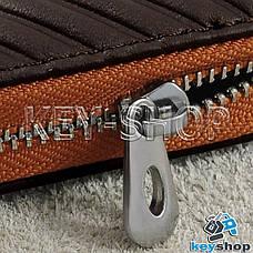 Ключниця кишенькова (шкіряна, кориневая, з тисненням, на блискавці, з карабіном) логотип авто Ford (Форд), фото 2
