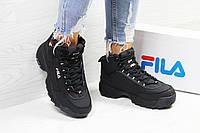 Зимние женские кроссовки Fila высокие качественные молодежные  на меху в черном цвете, ТОП-реплика, фото 1