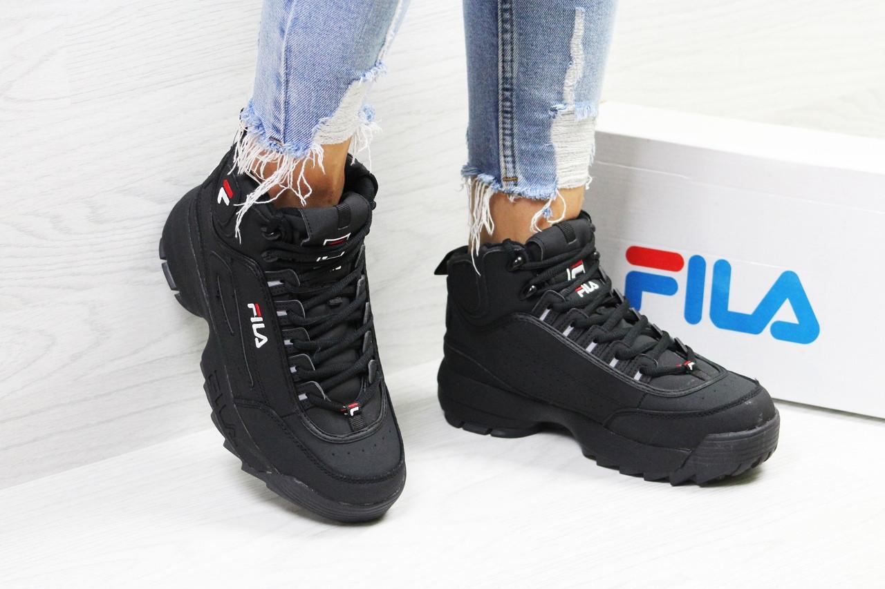 Зимние женские кроссовки Fila высокие качественные молодежные  на меху в черном цвете, ТОП-реплика