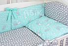 Комплект постельного белья Asik Серые и белые зайчики на мятном 8 предметов (8-294), фото 4