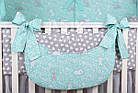 Комплект постельного белья Asik Серые и белые зайчики на мятном 8 предметов (8-294), фото 5