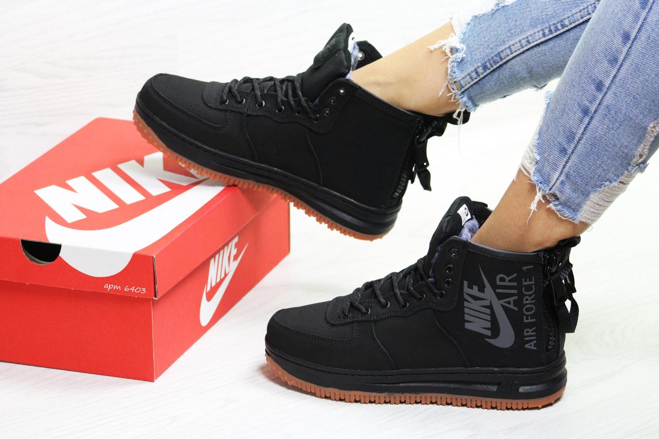 Nike Air Force женские зимние кроссовки черные( Реплика ААА+) ... 1f479b231bed9