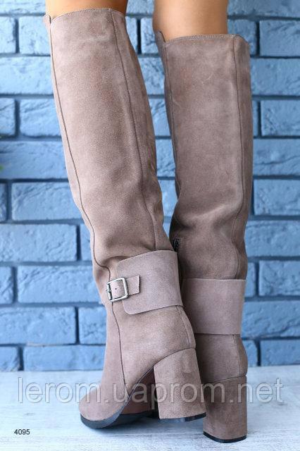 27cf913fd Купить Красивые бежевые замшевые сапоги на каблуке Евро зима в ...