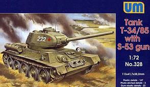 Сборная пластиковая модель танка Т-34/85 с пушкой С-53 в масштабе 1/72. UM328