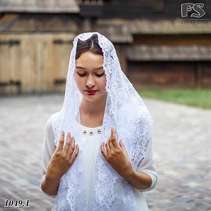 Свадебный шарф белый Цветочки, фото 2