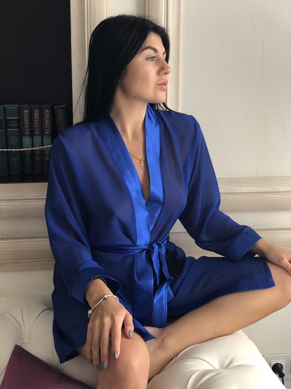 Прозрачный женственный халатик из шифона цвета синий электрик