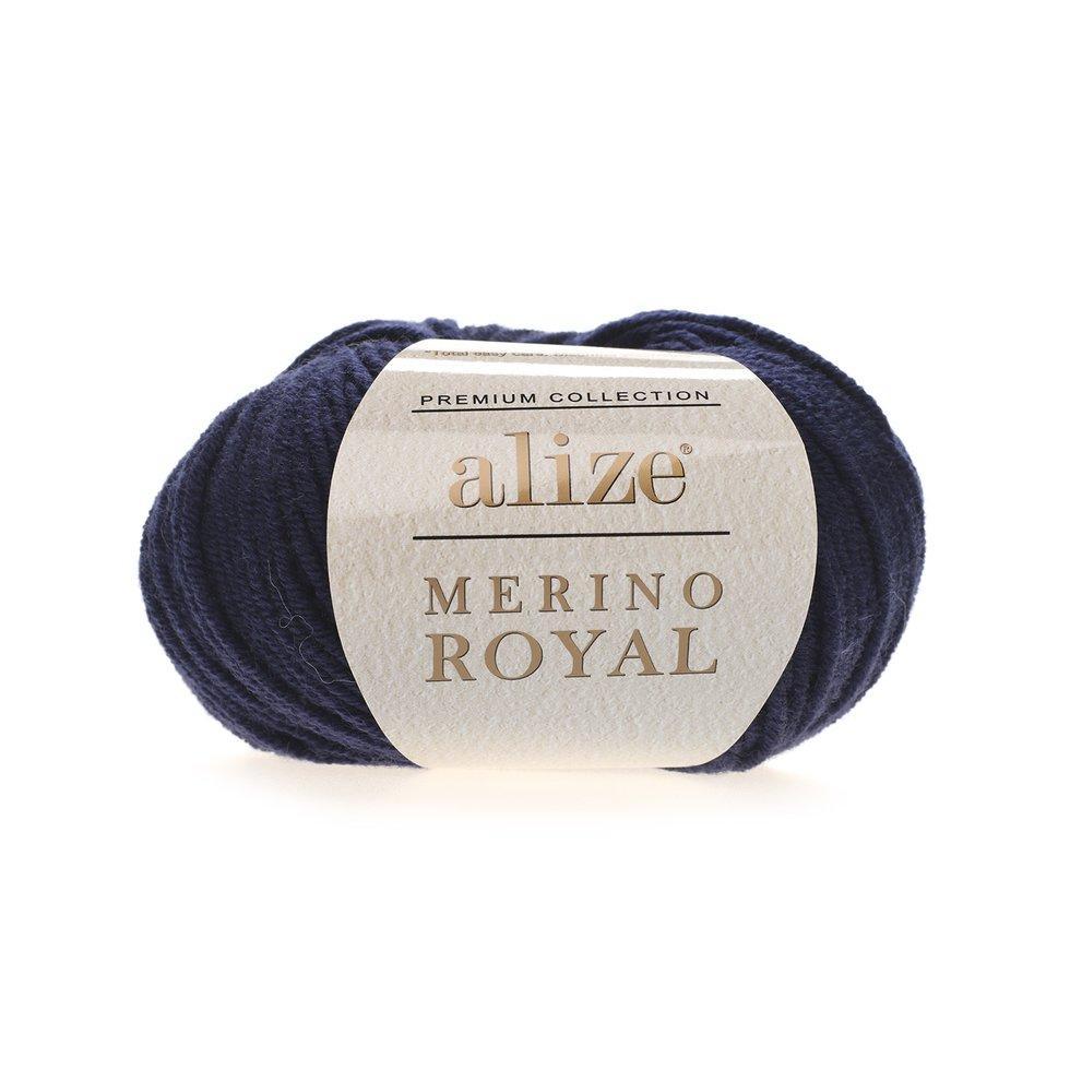 Пряжа Мерино рояль Merino royal Ализе, № 58, т. синий