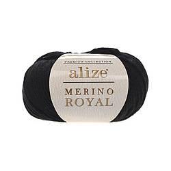 Пряжа Мерино рояль Merino royal Ализе, № 60, черный