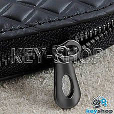 Ключница карманная (черная, кожаная, с тиснением, на молнии, с карабином) логотип авто Nissan (Ниссан) , фото 2