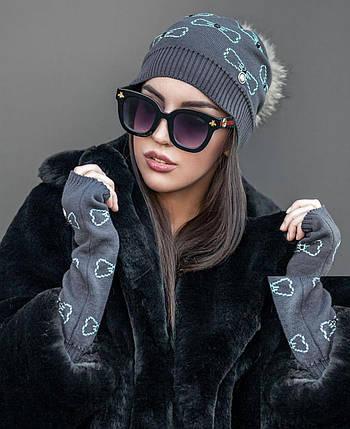 Женский комплект шапка и митенки из пряжи софт цвет серый с бирюзовым, фото 2
