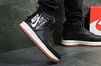 Кроссовки мужские Nike Air Force зимние кожаные стильные высокие молодежные на шнуровке (черные), ТОП-реплика, фото 1