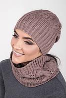 Теплый набор шапка двойной вязки и шарф-хомут
