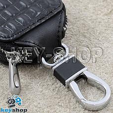 Ключница карманная (черная, кожаная, с тиснением, на молнии, с карабином) логотип авто Nissan (Ниссан) , фото 3