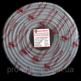 EH-690  Телевизионный (коаксиальный) кабель RG-6U 90%/ССS 1,02/ Al 90 алюминиевых  жил/ПВХ/белый