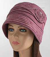 Женская зимняя шляпа клош сиреневого цвета