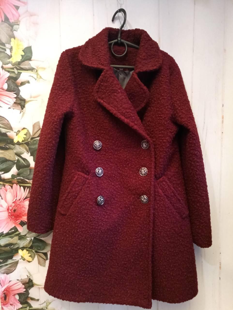 Пальто на девочку р, 140-152. цвет бордо
